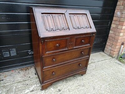 Old Charm Solid Oak Linen-Fold Bureau/Writing Desk with Drawers