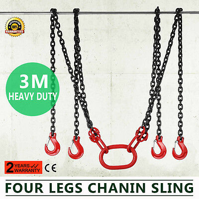 10FT Chain Sling with 4 Legs 5T Capacity High Strength Adjustable Rope Hoist