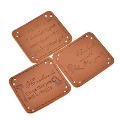 20pcs Retro Brown Synthetic PU Leather Handmade Label Tags for Sewing Supplies