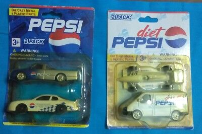 Vintage PEPSI Collectible Diecast Metal & Plastic Parts (4) Cars - SEALED Packs