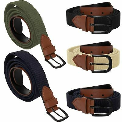 Mens Ladies Elasticated Webbing Belts PU Leather Trim Stretch Canvas Buckle Belt