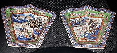 Antique Japanese Pair Imari Lozenge Shape Dishes Meiji Era with Enamel and Gold
