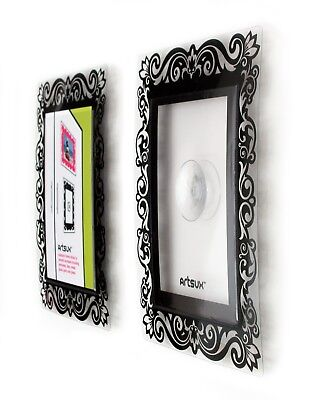 2 Black Designer A6 photo frames with suction pad to stick to any glossy surface