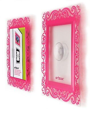 2 Pink Designer A6 photo frames with suction pad to stick to any glossy surface