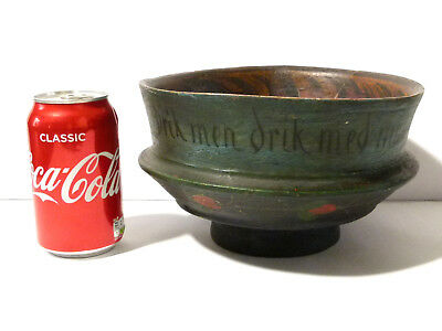 Antique 19thC Norwegian Hand Painted Rosemaling Wooden Bowl *