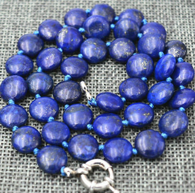 """Long 18"""" 24"""" 36"""" 12mm Natural Blue Egyptian Lapis Lazuli Coin Beads Necklace AAA"""