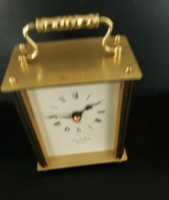 Brass Carriage Clock, Lionel Peck of London,Quartz with battery works, marks GWO