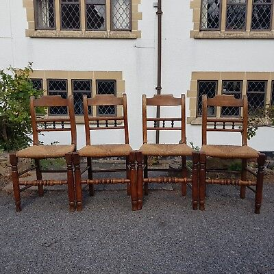 A Set of 4 Early 19th Century Elm Rush Seated Dining Chairs East Anglia C.1820