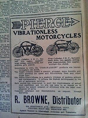 Sept 23, 1911 Newspaper Page #2029- Pierce Vibrationless Motorcycles