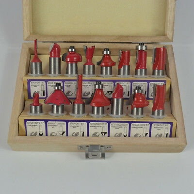 """15 Pcs 1/2"""" Shank Router Bit Set Tungsten Carbide Rotary Tool in Wooden Box"""