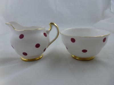 Royal Vale Bone China Red Polka Dot Milk Jug & Sugar Bowl