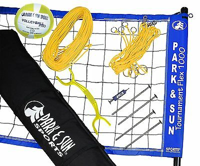 Park & Sun Sports Portable Outdoor Volleyball Net: Tournament Flex 1000 Blue