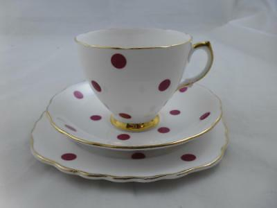 Royal Vale Bone China Polka Dot Trio - Red, (Cup, Saucer & Side Plate) No.1