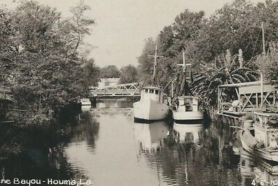 CD-367 LA, Houma Terrebonne Bayou Real Photo Postcard RPPC Louisiana Cline Pht