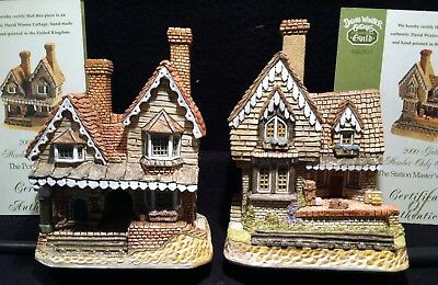 David Winter Cottages Guild Member Only Lot: Station Master, Porter's Lodge, COA