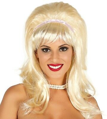 Ladies Blonde Bob Beehive 60s Sixties 1960s Fancy Dress Costume Outfit Wig