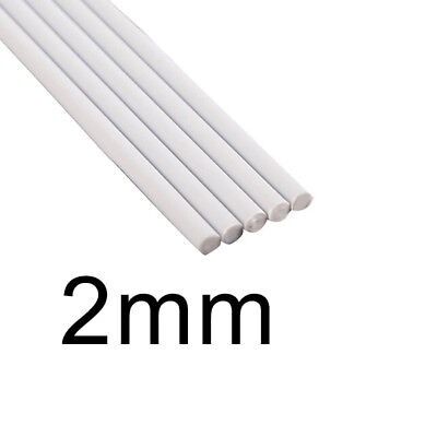 ABS Rod Tube 2mm-6mm 5pcs Plastic Assorted Cylinder Pole DIY Sand Round White