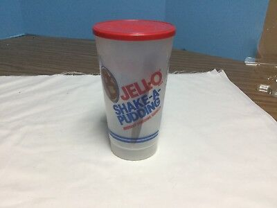 JELLO SHAKE- A- PUDDING- Vintage Plastic shaker cup with lid and Instructions