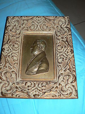 Antique Vintage Brass Cast Art Plate Napolian Signed Friedrich F.