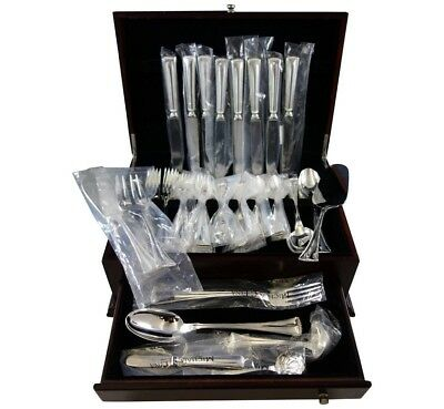 Fiesole by Greggio Italy Sterling Silver Flatware Set 8 Dinner Size 56 Pcs New
