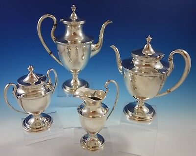 Old Maryland Plain by Kirk Sterling Silver Tea Set 4pc #4196 (#2584)