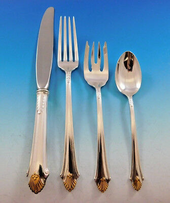 Edgemont Gold by Gorham Sterling Silver Flatware Set For 12 Service 54 Pieces