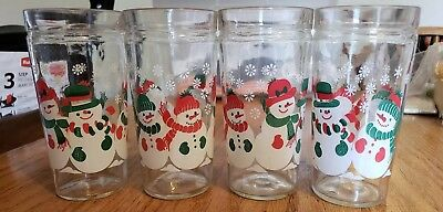Snowman Vintage Christmas Holiday Anchor  Drinking Glasses--Set of 4. EUC!!
