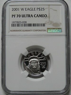 2001-W $25  1/4 oz PLATINUM PROOF EAGLE NGC PF70 ULTRA CAMEO COIN  #028