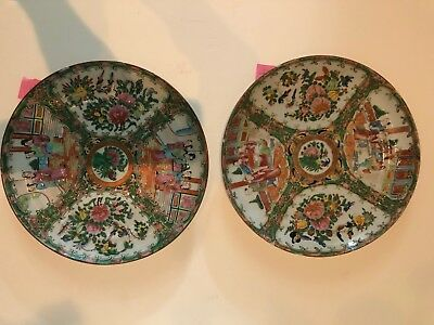 """Antique Chinese Rose Medallion Porcelain Lot of Two 9.5"""" Plates (3 & 4)"""