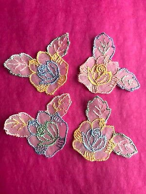 1930s Vintage Lace Flower Motifs Appliques Pastel Shabby Chic Sew Craft Doll