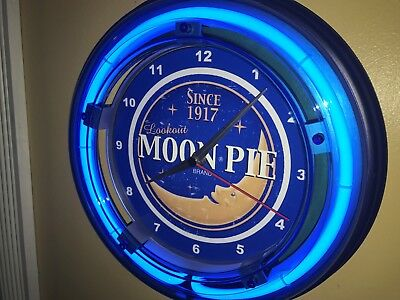 *** Moon Pie Bakery Baker Kitchen Diner Store Blue Neon Wall Clock Sign