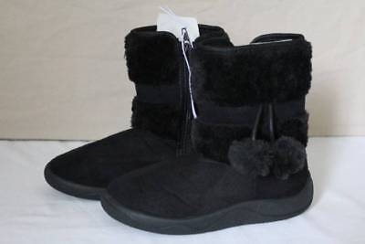 NEW Girls Black Boots Size 13 Faux Suede Fur Shoes Zip Up Winter Fashion Dressy