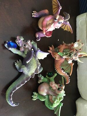 MOOD DRAGONS Franklin Mint Dragon Figurines Lot of 4 Collectible