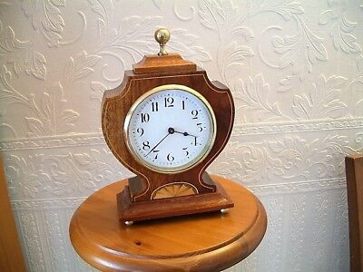 French Edwardian inlaid mahogany cased 8 day mantle clock