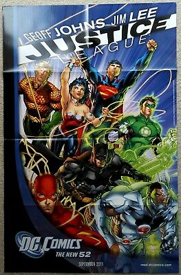 """DC COMICS - JUSTICE LEAGUE - THE NEW 52 FOLDED PROMO POSTER 22"""" x 34"""" INCH - NEW"""