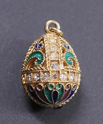 Enameled Green Sterling Silver 925 Gold Washed Russian Egg Pendant Charm