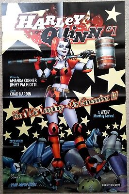 """DC COMICS - HARLEY QUINN - THE NEW 52 FOLDED PROMO POSTER 22"""" x 34"""" INCH - NEW"""