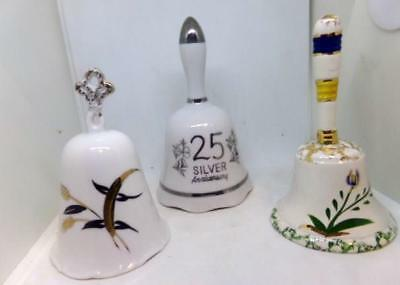 3 Vintage Hand Bells Ceramic (2) Floral design (1) 25th Anniversary #57