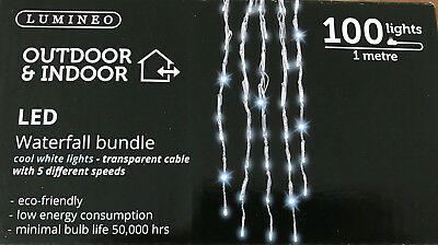 Outdoor Indoor Waterfall Bundle Led Cool White Lights 5 Speed Settings