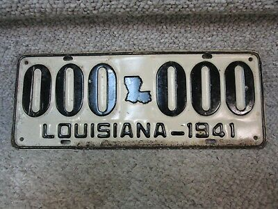 A+ *1941* Louisiana Sample License Plate 000-000 Ww2 Cajun Bayou New Orleans