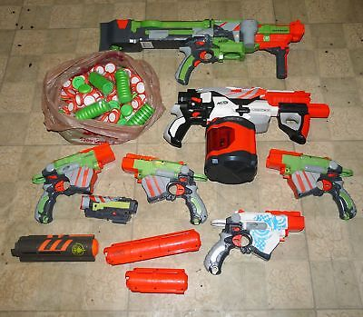 Nerf Gun Lot Vortex Proton Nitron 6 Gun Lot Tons of Dart Nerf Discs Clips