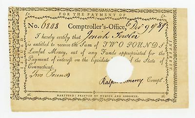 1789 2 Pounds, Ralph Pomeroy Comptroller - CONNECTICUT Interest Certificate