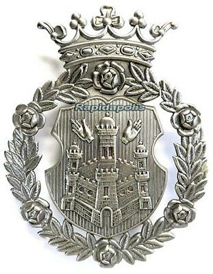 Vintage Obsolete Big European Police or Military Silver Crown & Shield Cap Badge