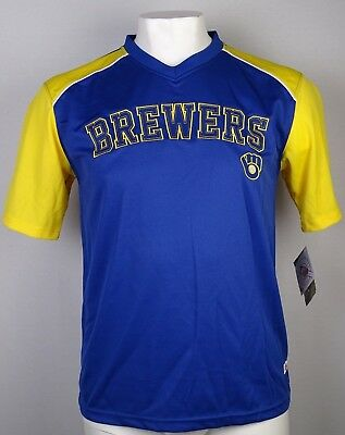 Milwaukee Brewers Stitches Men's Embroidered Blue/Yellow Pullover Jersey MLB L