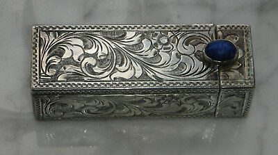 Sterling Silver Ornate Antique Lipstick Case With Mirror