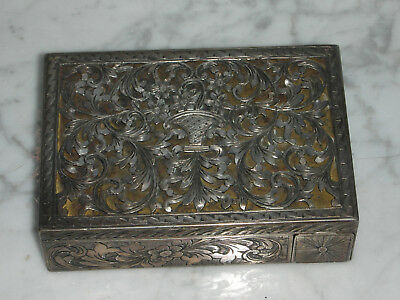 Sterling Silver Ornate Antique Compact And Lipstick Case