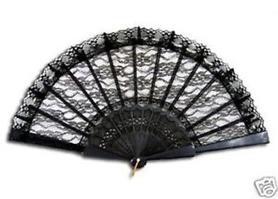 Black Lace Fan - Fancy Dress Accessory - Victorian Gothic - New & Sealed