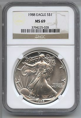1988 American Eagle Silver Dollar 1 oz NGC MS 69 Certified - One Ounce AX13