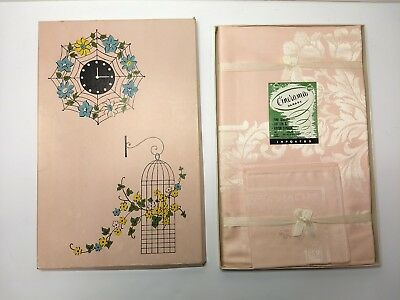 """Vintage Teaparty Pink Damask Tablecloth & 4 Matching Napkins 50"""" x 50"""" Square"""