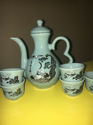 Vintage Chinese Tea Set With Beautiful Cranes- Turquoise